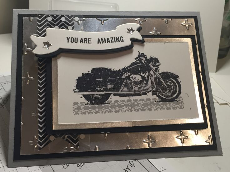 """Used the new stamp set """"One Wild Ride"""" from Stampin Up. The Silver Foil paper gives it that perfect """"chrome"""" look. This stamp set was created by Dawn Griffith and the card was inspired from her creations with it."""