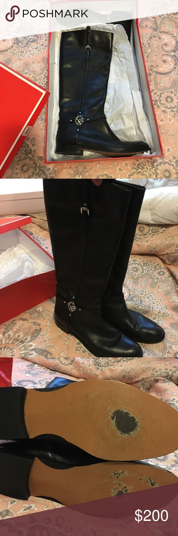 COACHLEATHER RIDING BOOTS COACH Black leather riding boot. Excellent condition. Worn once. Knee high. Offers and questions welcome.EXCLUDED FROM BUNDLING Coach Shoes