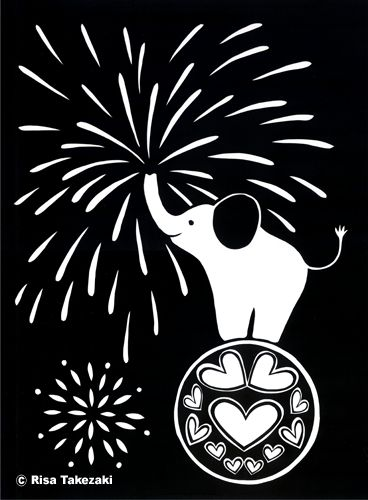 Paper Cut Work: Elephant  #elephant #paper cut #fireworks # cute illustration #Japanese artist