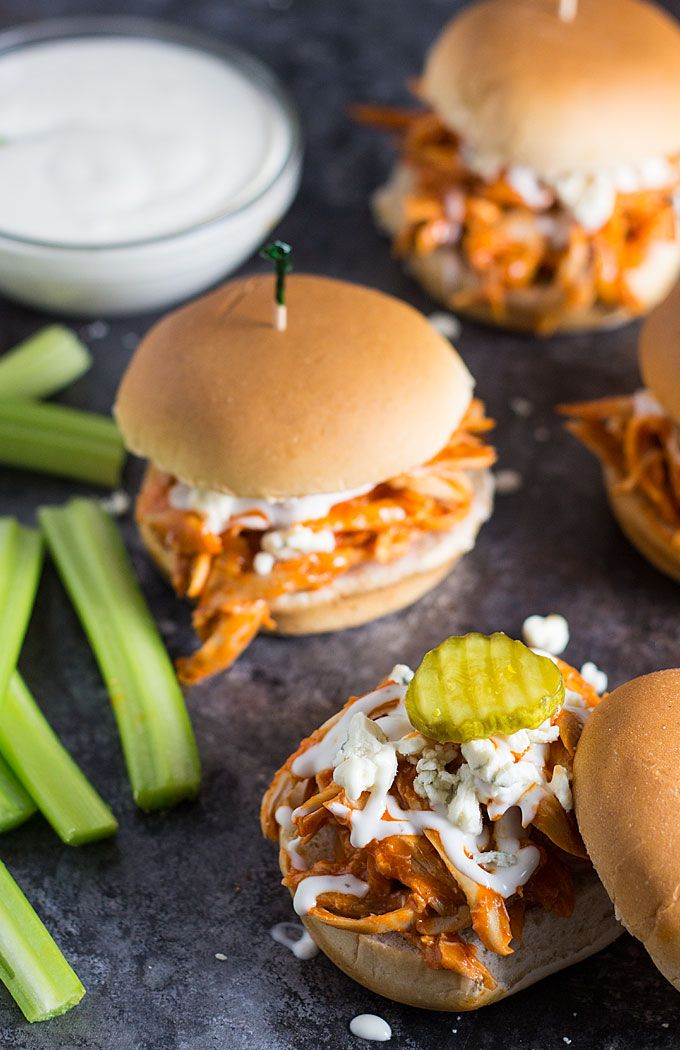 Shredded Buffalo Chicken Sliders -- Using a store-bought rotisserie chicken slashes time for the perfect game day sliders! #slider #chicken #party #cocktail