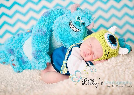 Newborn Twin Set - Monsters Inc - Mike and Sulley - handmade crochet Disney photo prop hats on Etsy, $50.00