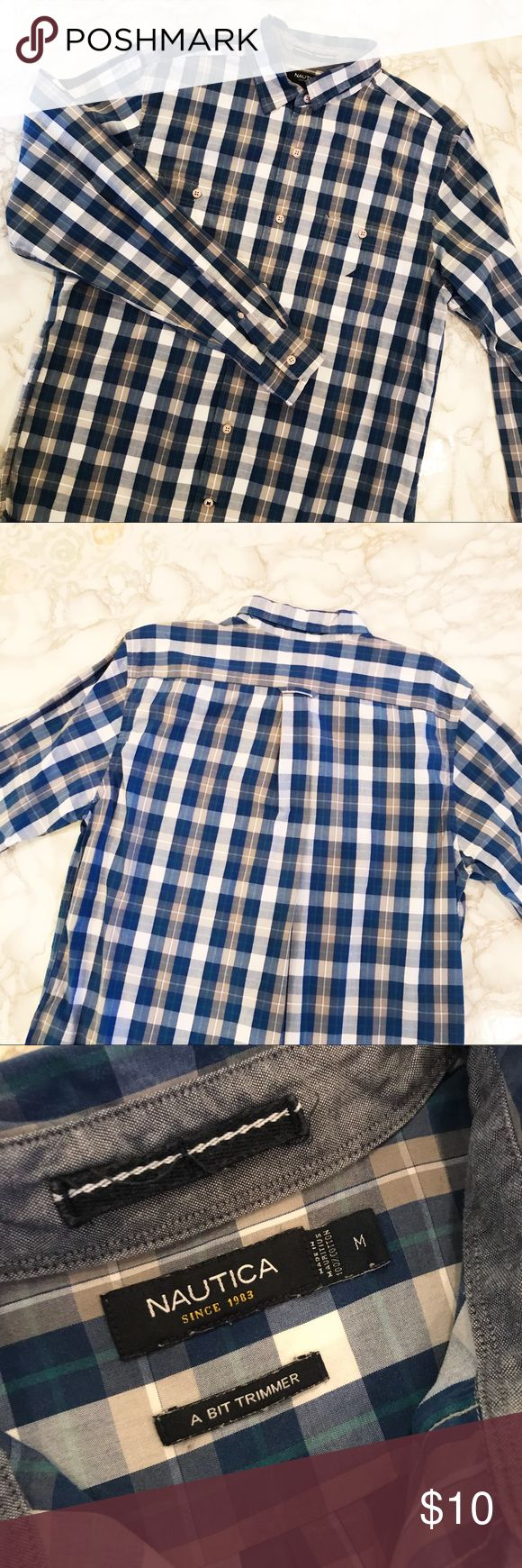 """Nautical Long Sleeve Shirt Blue checkered long sleeve shirt for men from Nautica. Size M. Shirt length 32"""", sleeve 26"""", chest 20"""". In great condition. No sweat stains. 100% cotton. My husband doesn't want it any more. Nautica Shirts Casual Button Down Shirts"""