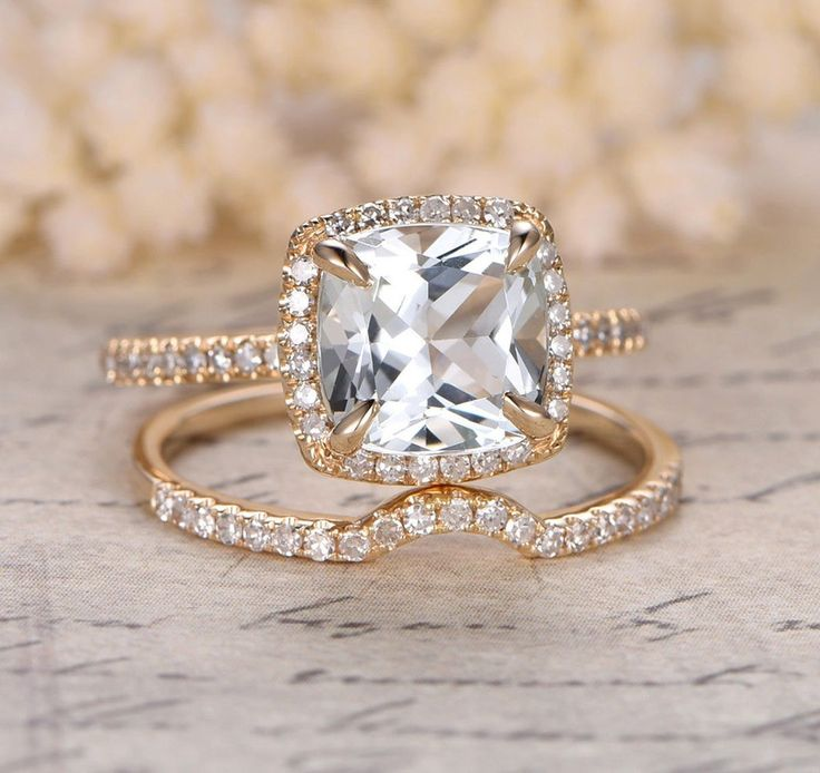 Cushion Topaz Engagement Ring Sets Pave Diamond Wedding 14K Yellow Gold 8mm Curved Band