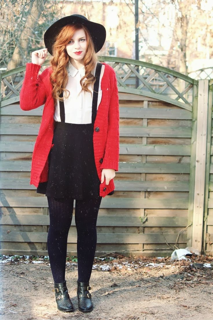 red cardigan sweater + black mini skirt jumper with suspenders + blouse + tights + hat | fall autumn style
