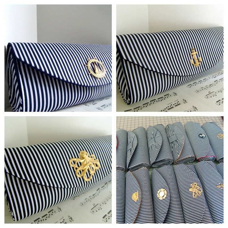Nautical navy blue clutch purse with gold ship, stripes, bridesmaid clutch, nautical wedding. Made to order. $35.00, via Etsy. @Four Seasons Bridal