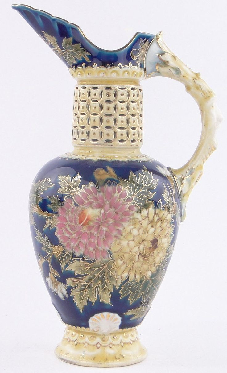 "Zsolnay porcelain ewer with reticulated neck,& painted & gilded chrysanthemum designs, height 9.5"" 17/L340L"