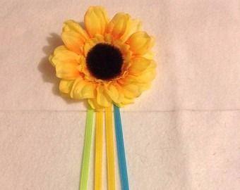 girassol flor cabelo ana frozen fever com fitas
