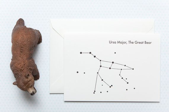Ursa Major  The Great Bear  Letterpress Greetings by iceandearth