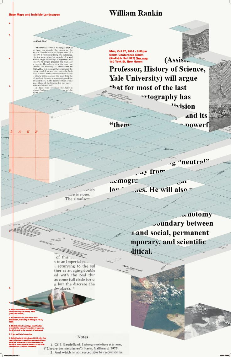 "Michela Povoleri (New York) ""Base Maps and Invisible Landscapes"" poster for lecture by William Rankin, 2014"