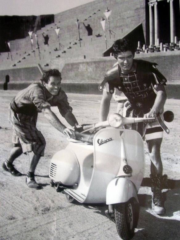 Ben Hur as you don't remember it. The chariot race would not have been as exciting if this is what they raced with . Charlton Heston Riding a Scooter During Filming of Ben Hur, 1959