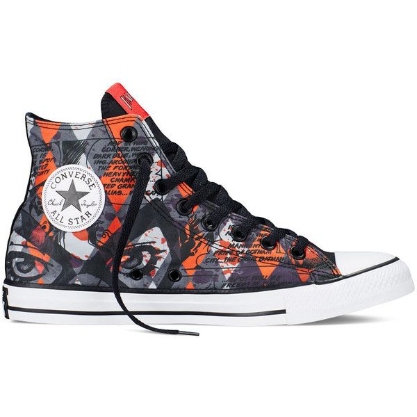 Converse Chuck Taylor DC Comics Harley Quinn – red Sneakers ($60) ❤ liked on Polyvore featuring shoes, sneakers, red, rubber sole shoes, red trainer, converse trainers, red cap and rubber caps