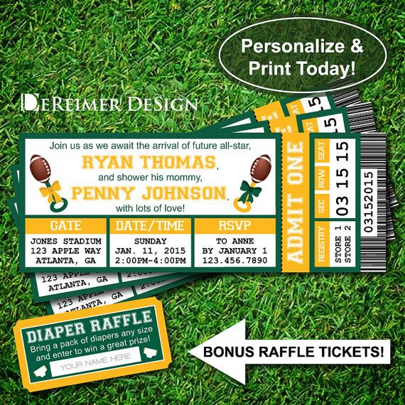 Sports Ticket Baby Shower Invitation, Green Bay, Packers, Notre Dame, Football, Green, Yellow, Instant Download, DIY, Diaper Raffle Tickets by DeReimer DeSign. $10.50