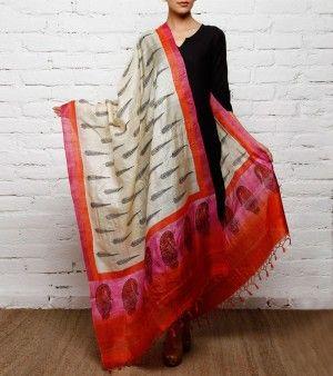 Beige, Pink and Red Tussar Silk Dupatta
