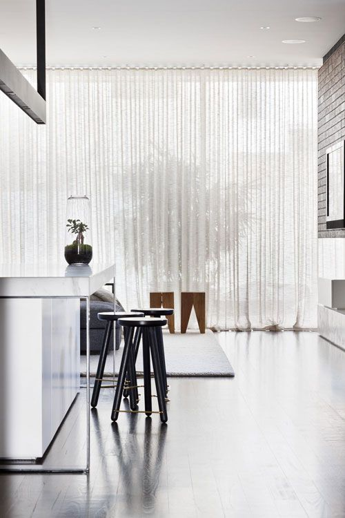 marble, stools + curtains