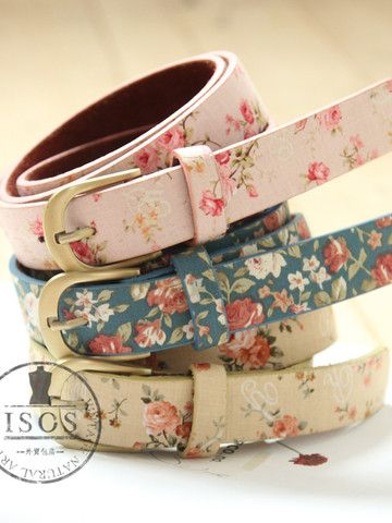 Cute! Floral Print Belts.