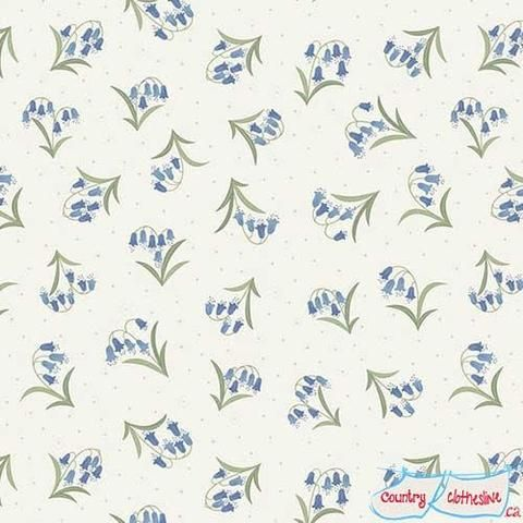 Flo's Wildflowers Bluebells on Cream fabric by Lewis & Irene