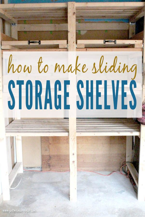 Organize your garage or basement with these DIY wall-mounted garage shelves. The pull out shelves are the perfect organizing idea for tons of stuff in your garage. Built with 2x4s, free plans available.
