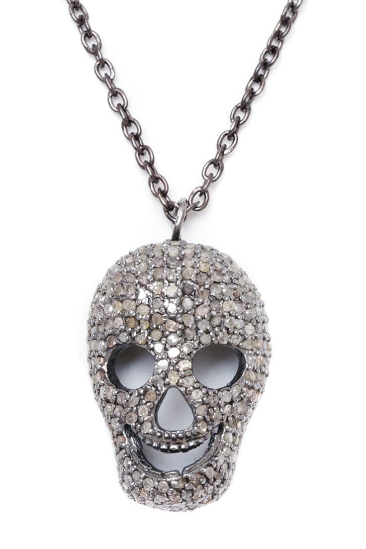 Pave Champagne Diamond Skull Necklace