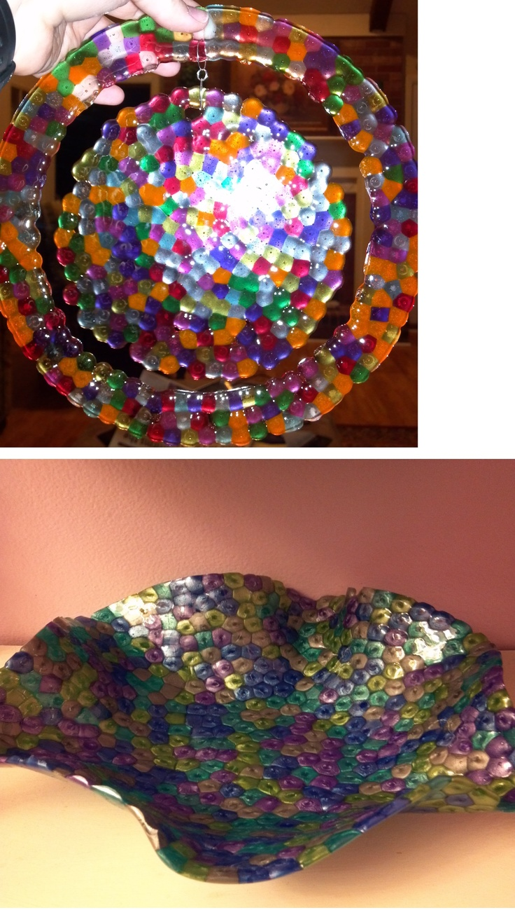 great craft idea for kids this summer.  plastice beads in oven at 400 for 25 minutes.