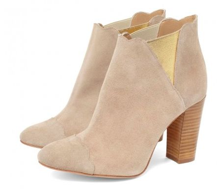 CLEO B 'Puff' nude suede mid height ankle boot. #sea #monsters #summer #collection #beatles #inspired #nude #gold #suede #boots #heels #fashion #designer #london #style #festival #puff