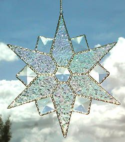 """Beveled Snowflake Stained Glass Suncatcher - 8"""" - $28.95 - - Stained Glass Designs -  Stained Glass Sun Catchers – Stained Glass Art – Stained Glass Suncatchers – Handcrafted Stained Glass Gifts -  From Accent on Glass  - www.accentonglass.com"""