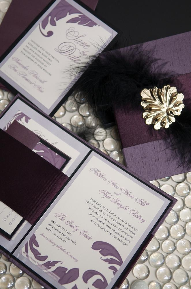 tulip wedding invitation templates%0A Purple with feathers Invitations