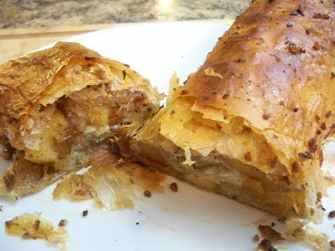 Super Easy Apple Strudel! - Bake 20 min/400*- 3 apples, cinnamon, pecans or walnuts, raisins or currents,  vanilla, brown sugar Philo Pastry.