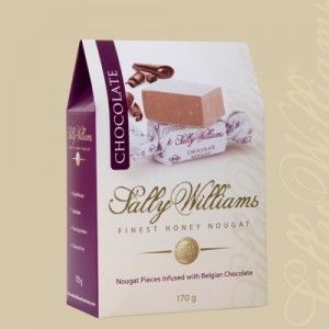 A box of 20 gift bags of Sally Williams Chocolate Infused Nougat. Gourmet nougat from a true culinary genius.