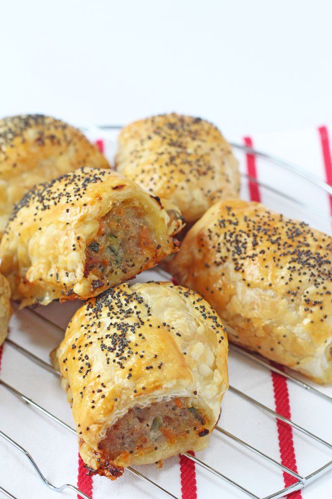 Delicious kid friendly sausage rolls  packed with carrot and courgette. Everyone will love these Hidden Veggie Sausage Rolls!   My Fussy Eater blog