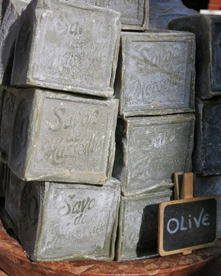 Savon de Marseille (olive oil soap) at Cassis Provençal Market…