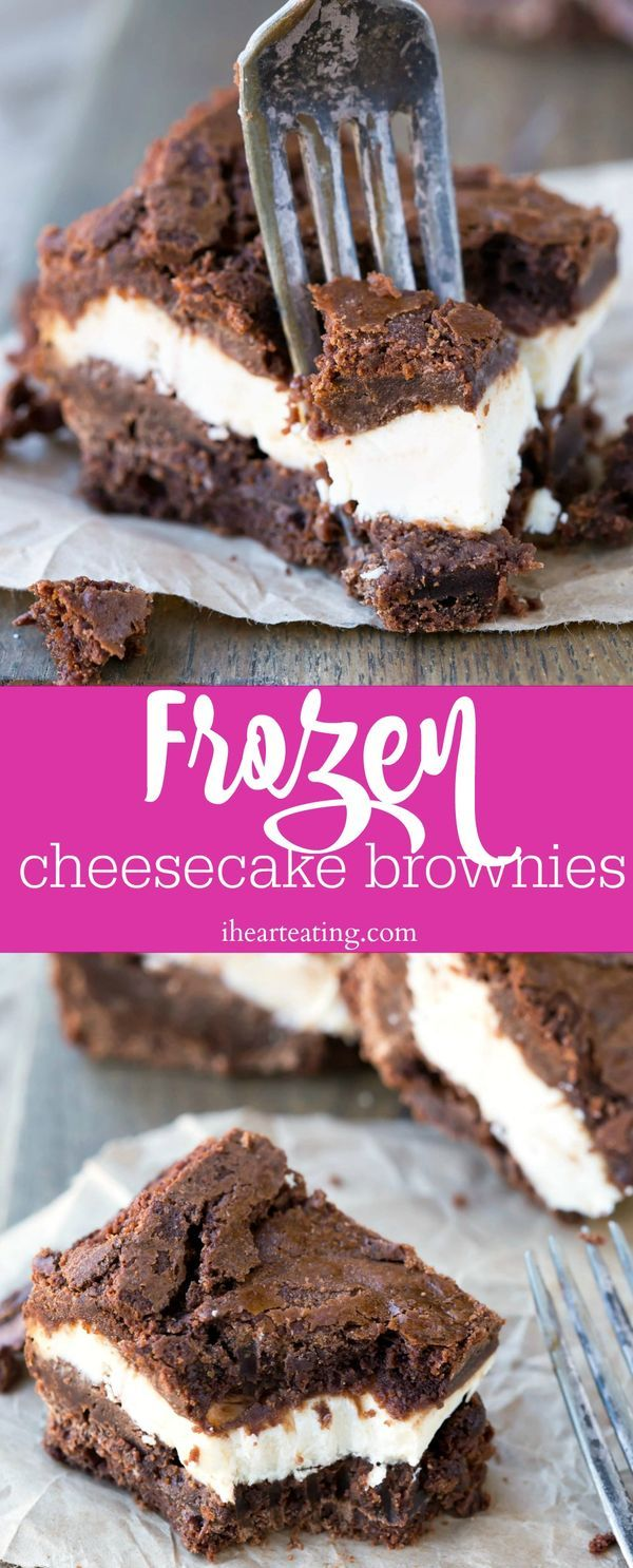 Frozen Cheesecake Brownie Recipe - easy, homemade frozen dessert bars!