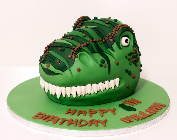 T-Rex Green Dinosaur Birthday cake
