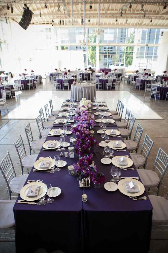 Purple ombre head table centerpiece    needs decorations from the ceiling too