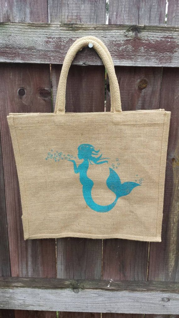 Check out this item in my Etsy shop https://www.etsy.com/listing/236716638/mermaid-jute-tote-bag