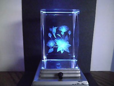 24 Lead Crystal Cube Paperweight 3d Laser Lazer Etched