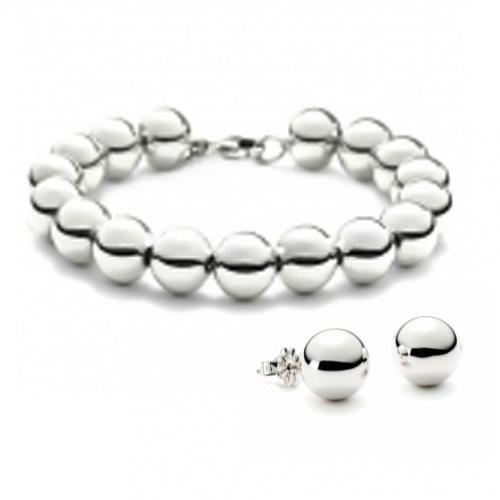 Sterling Silver Bead Bracelet and Earrings Set