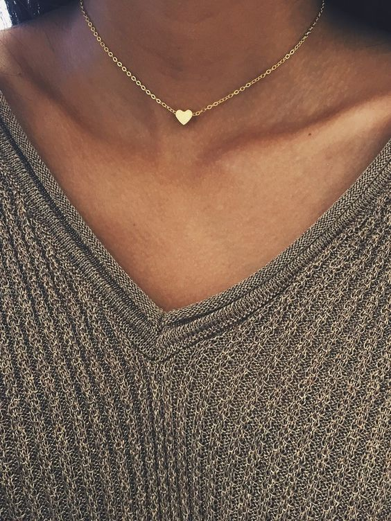 Gold or Silver Heart Charm Choker