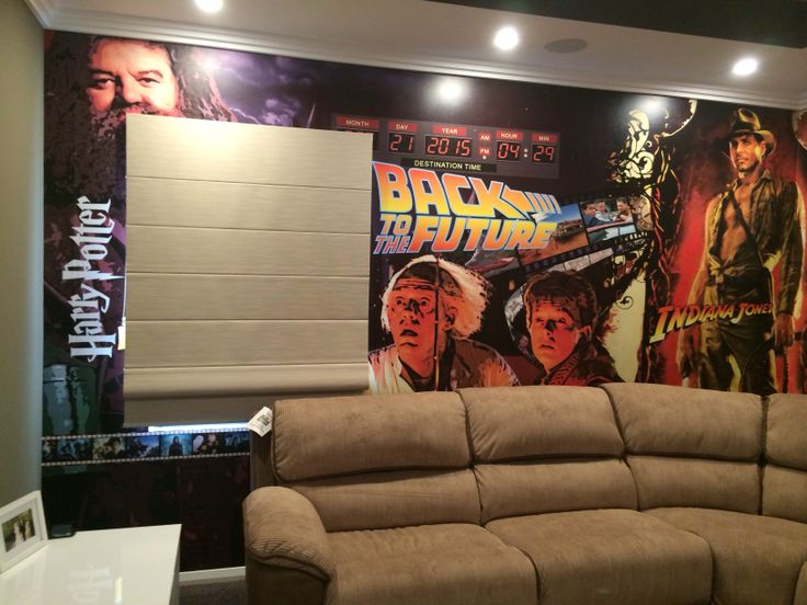 Custom made wall mural in our home theatre @Aveling Homes
