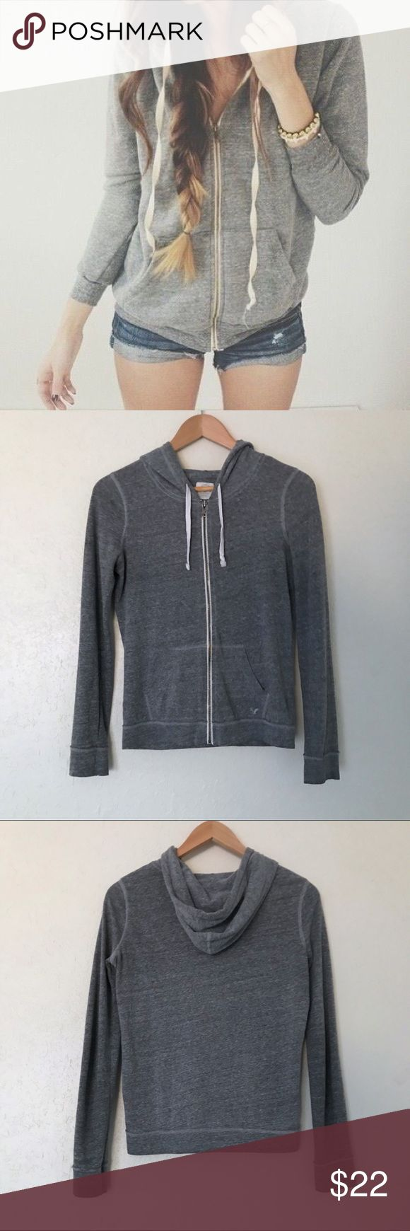 American Eagle; Gray Zip Up Hoodie Excellent condition. Light wear, the hood string is staring to fray (see last pic). American Eagle outfitters. Lightweight and soft jersey feel. American Eagle Outfitters Tops Sweatshirts & Hoodies