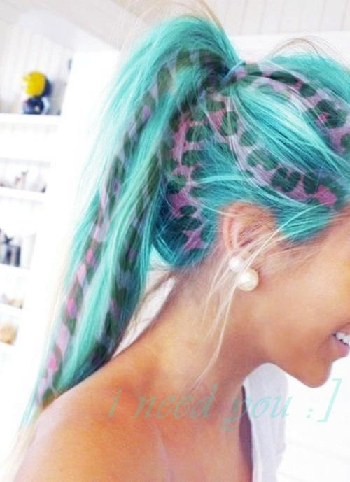 Aqua Hair With Pink Cheetah Print.  Purple Violet Red Cherry Pink Bright Hair Colour Color Coloured Colored Fire Style curls haircut lilac lavender short long mermaid blue green teal orange hippy boho   Pulp Riot