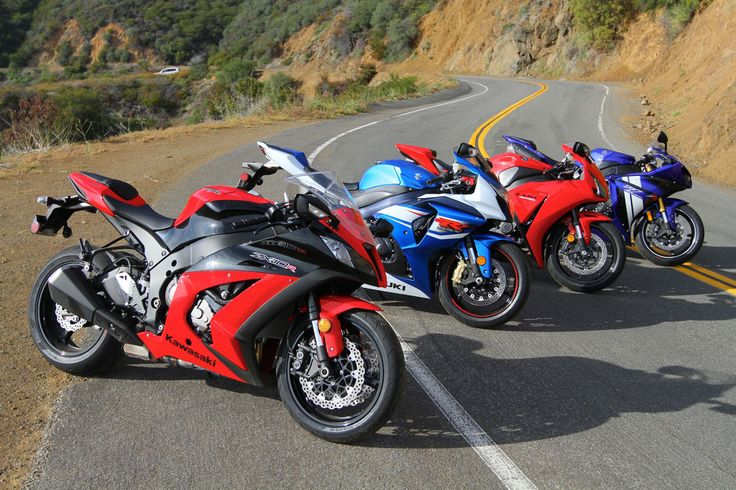 2012 Japanese superbikes. L-R Kawasaki Ninja ZX10R, Suzuki GSXR1000, Honda CBR100RR, Yamaha