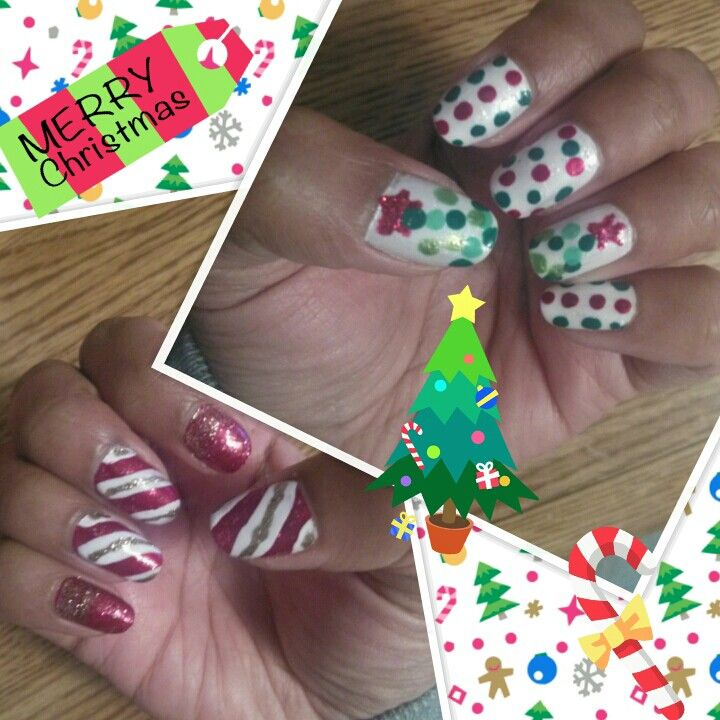 My Christmas nails #ChristmasTrees #CandyCaneDesign