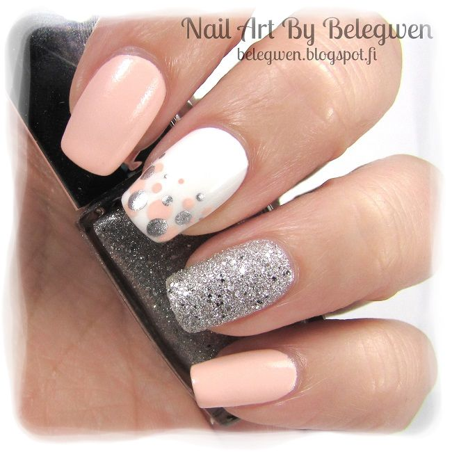 Nail Art by Belegwen: Essence Candy Love, Gina Tricot White and Golden Rose 51