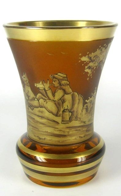 Art Deco Glas Becher / Pokal Johann Oertel & Co. Haida