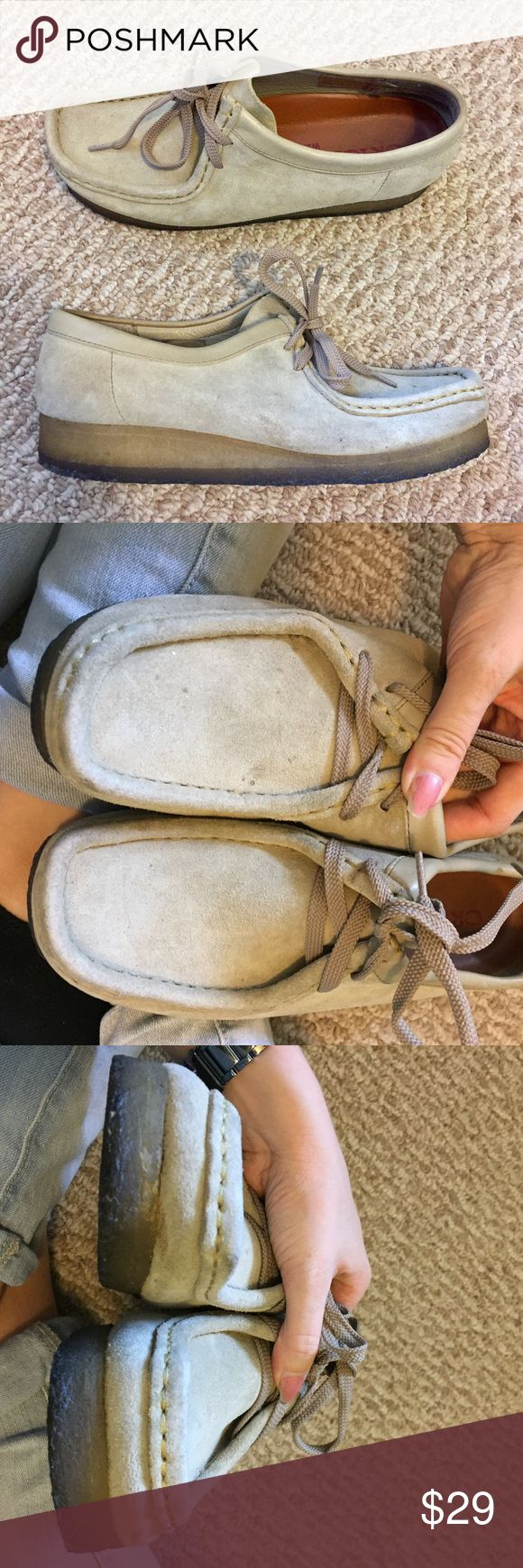 Clarks Wallabees EUC Size 9 Women's Excellent used condition. Very few stains on the leather (all shown in photos). Very little wear to the heels/soles. Reasonable offers will be considered. Clarks Shoes Flats & Loafers