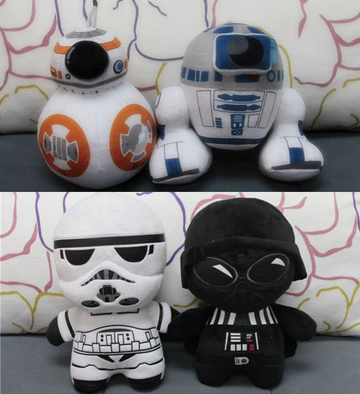 Star Wars 7 BB8 plush toys set 2016 New The Forza Risvegliare BB-8 Droid Robot R2D2 Darth Vador Storm Trooper roba giocattolo Bambola per kid