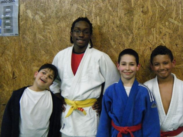 Stratford Judo Club's Edgar Boreiko, Omar Lecointe, Youcef Belkadi and Luca Johnson