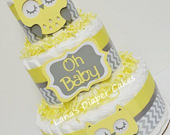 3 Tier Blue & Gray Elephant Diaper Cake von LanasDiaperCakeShop