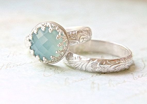blue chalcedony wedding ring set crown bezel floral engraved band engagement ring elegant - Alternative Wedding Rings