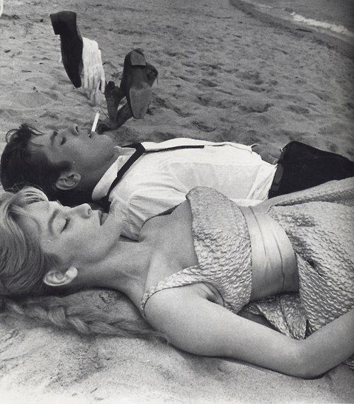 Estella Blain & Alain Delon photographed by Luc Fournol in Cannes ,1958